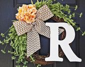 Peach Spring and Summer Wildflower, Hydrangea, and Chevron Burlap Wreath With White Monogram, Spring Hydrangea Wreath. Year Round Wreath