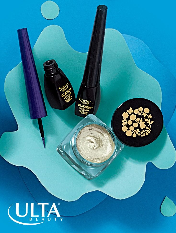 Butter london Glazen makeup is your new obsession. Glazen Eye Gloss takes on the eye gloss trend with a whipped gel-liked texture that dries like a powder and lasts all day in seven shades. Glazen Lustrous Liner delivers a metallic shine in a superfine tip. Play with all four colors: Disco (shown, sparkling black), Ultraviolet (shown, sparkling purple) Flare (sparkling brown), and Magnetic (sparkling navy).