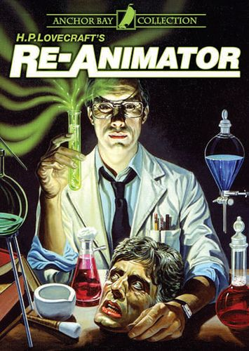 Re-animator (1985)  Directed by Stuart Gordon.  Based on the Story by H.P. Lovecraft.  Starring Jeffrey Combs, Bruce Abbott and Barbara Crampton.