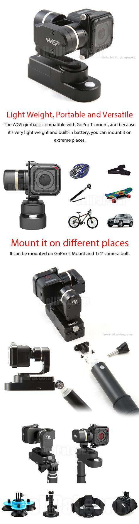 Feiyu wgs wearable gimbal for gopro 4 session 3 axis http