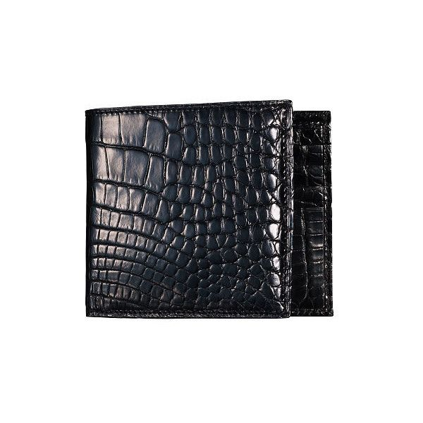 Ralph Lauren Alligator Hipster Wallet ($1,995) ❤ liked on Polyvore featuring men's fashion, men's bags, men's wallets, black, mens slim wallet, mens hipster wallets, mens alligator wallet, ralph lauren mens wallet and mens tri fold wallet