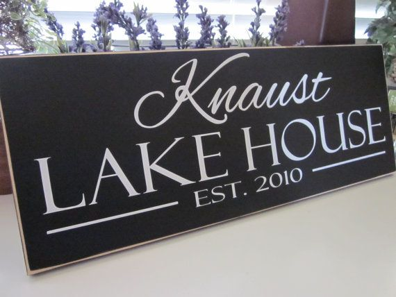 Custom Family Name Wood Sign Lake House Sign by KendrasKreations, $33.95