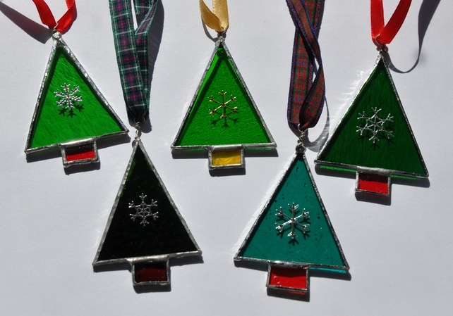 Stained Glass Christmas Tree Decorations £4.00