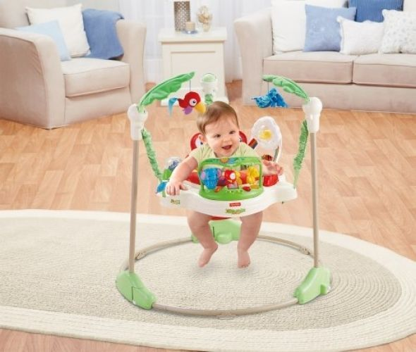 Baby Activity Jumper Exerciser Infant Rainforest Jumperoo Light Up Jumping Toy…