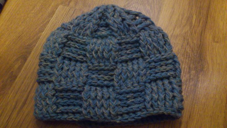 Crochet cap with basket weave stitch - Used two kinds of yarn as one
