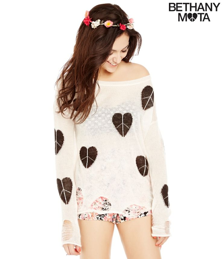 Destroyed Sheer Heart Logo Sweater from Bethany Mota Collection at Aeropostale