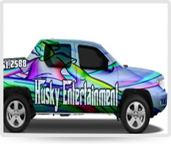Husky Entertainment digital vehicle wrap. Advertise your business everywhere you go! Free quotes and wrap prices available at http://www.envyinnovations.com/wraps.html #digital #vehiclewraps #autowrap #vinylwrap