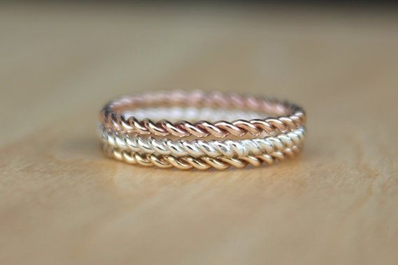 3 Tone Twist Rings, Rose Pink Gold Twist Ring, Yellow Gold Fill Stackable Ring, karma jewelry, eternity ring, nautical theme