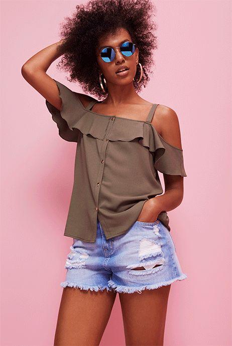Primark womenswear cold-shoulder top and denim shorts