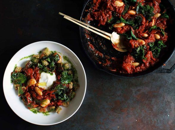 Gigante Beans & Greens with Spiced Tomato Sauce & Smoked Labne - Botanica