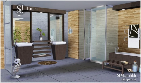 Linea bathroom 8 items at simcredible designs 3 sims 3 for The sims 3 bathroom ideas