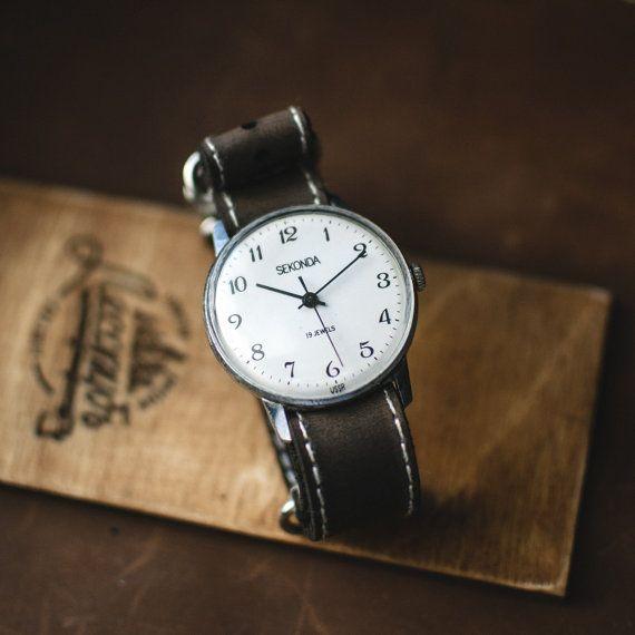 Mens watch Sekonda, soviet mechanical watch, vintage gents watch, ussr men watch, white wrist watch, watch for men, russian watch