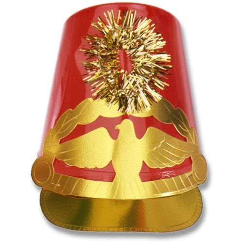 Beistle 66135-R - Plastic Drum Major Hat - Red [Toy] Beistle