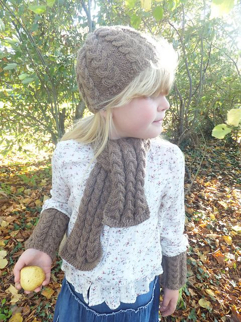 Ravelry: Child's 1 skein Cable Scarf, Beanie and Wrist Warmers pattern by Lorraine Hearn