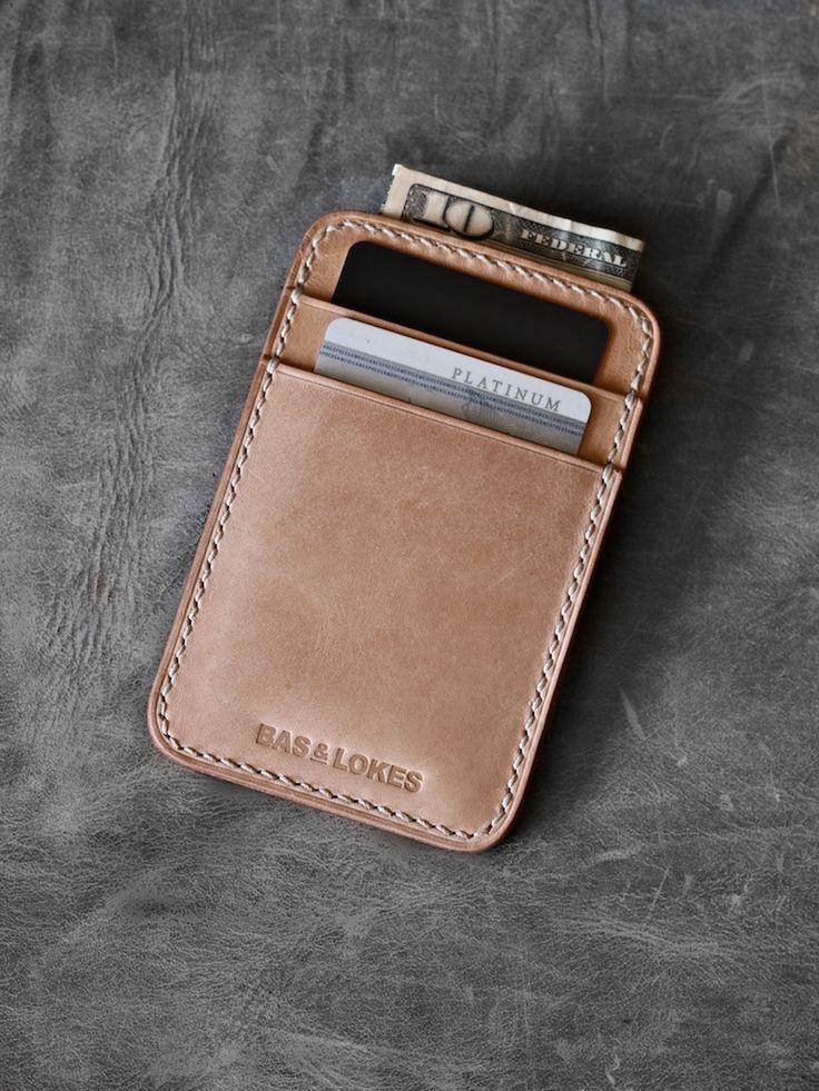 """Maddox"" Natural Handmade Slim Leather Wallet"