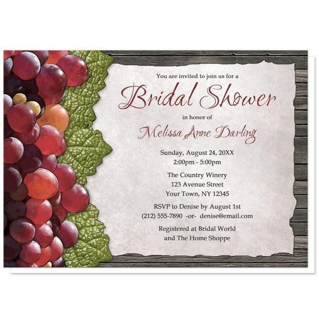 I wanted to share with you these Rustic Winery Grapes and Wood Bridal Shower Invitations? Do you like them?  | Vineyard or Winery Bridal Shower invitations designed with a rustic red grapes, green leaves, and you details on a torn parchment paper design over dark brown wood. Provide your desired wording to fit your event or occasion.