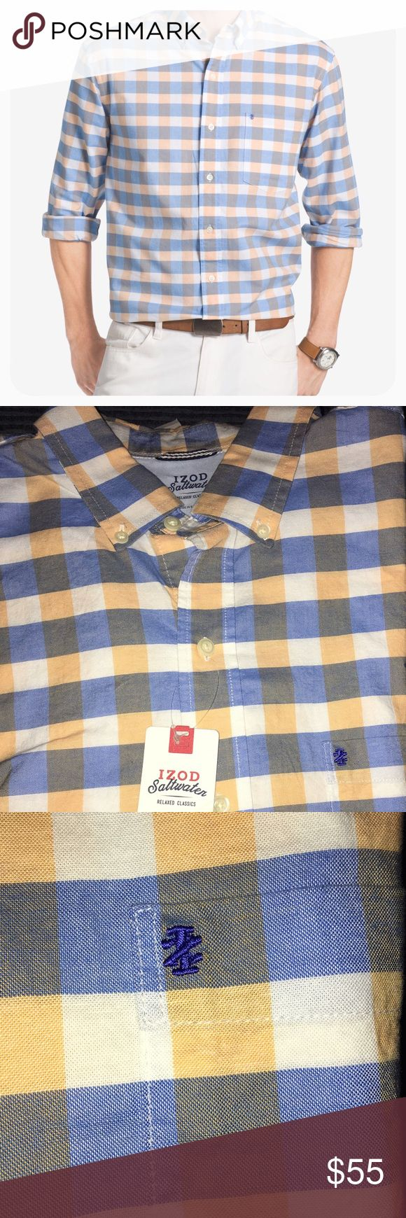 IZOD Saltwater Men's Plaid Shirt IZOD Saltwater Newport Oxford Button Down Shirt.Logo at left chest, Cotton fabric,All over plaid button closure IZOD Shirts Tees - Long Sleeve