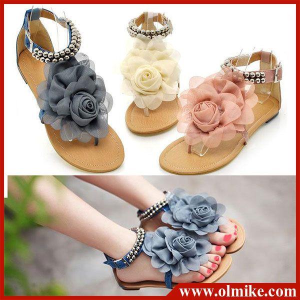 43 Pembe Bej Mavi S002 - Ücretsiz Kargo bayan yaz tasarımcı Boncuklu güzellik çiçek sandalet Çevirmek bayan Ayakkabıları Boyutu 34 flop