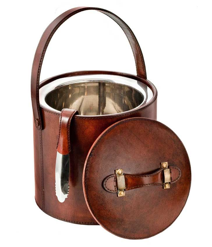 Leather Ice Bucket with Tongs| www.joannawood.co.uk #ice #leather