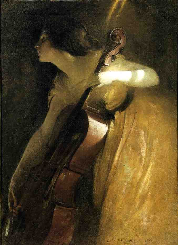 John White Alexander >> A Ray of Sunlight (aka The Cellist)  |  (, artwork, reproduction, copy, painting).