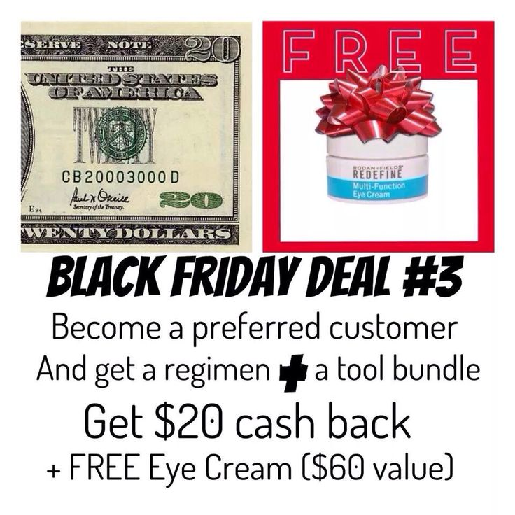 One of my Black Friday shopping deals: Two other offers available. This offer is for free multifunction eye cream - banish those under eye circles!   Check out my Facebook Page (https://www.facebook.com/reneerandfconsultant) or order online at:  https://reneesiemiet.myrandf.com/Pages/OurProducts/PCProgram