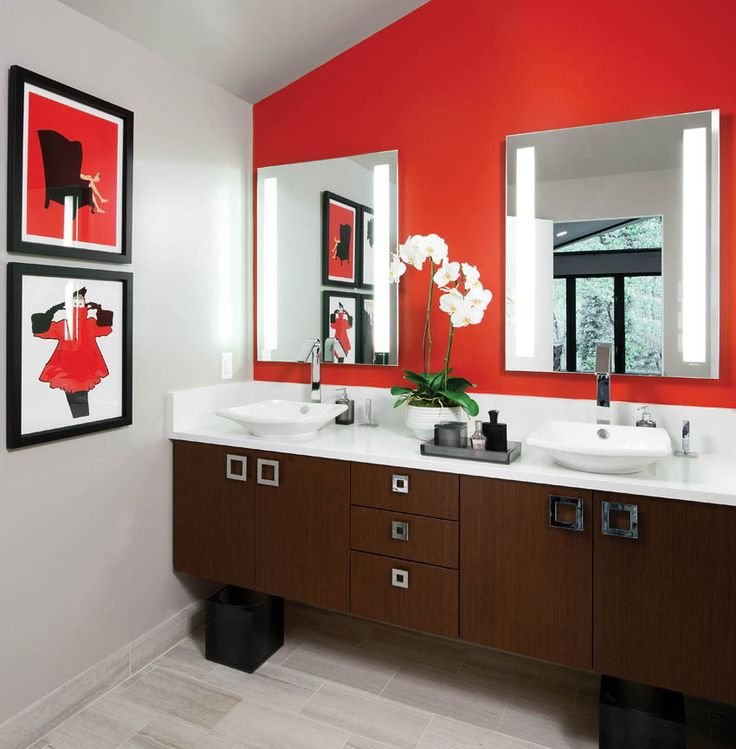 Small Red And White Master Bathroom With White Orchids And Artwork. Small  Bathroom Chic: Artwork Brightens Bathroom Space From Bathroom Bliss By  Rotator Rod