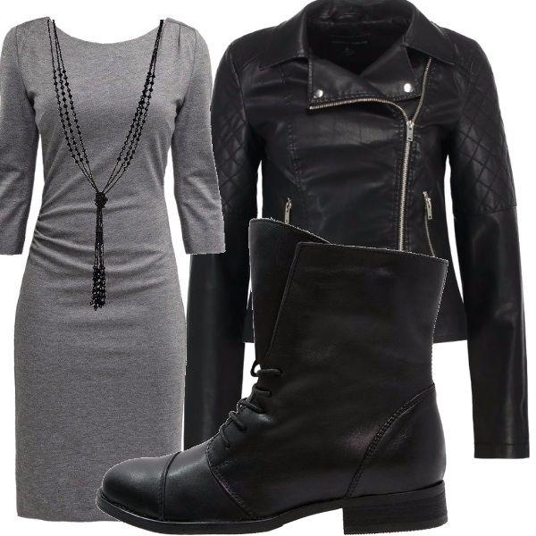 Outfit interamente composto dai colori nero e grigio. In questo look a mio parere la scarpa fa la differenza, io l'ho abbinata ad un abito aderente e ad una giacca in pelle, come accessori ho scelto una collana lunga ed una borsa.
