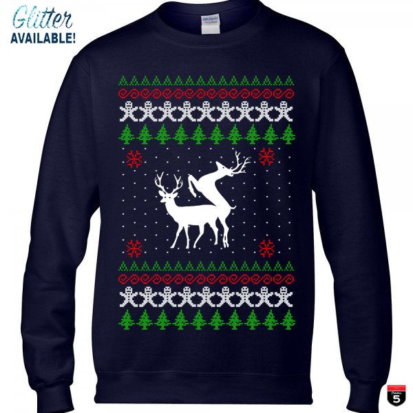 Christmas ugly sweater deer season funny new cool sweatshirt navy glitter available unisex sizes S-3XL by Creation5Official on Etsy