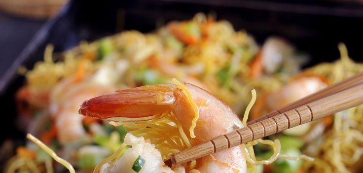 Vermicelles de riz aux crevettes et lait de coco