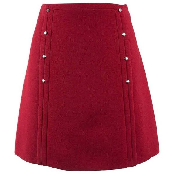 Preowned Prada Womens Red Wool Vertical Silver Button A-line Mini... ($695) ❤ liked on Polyvore featuring skirts, mini skirts, red, button skirt, wool mini skirt, red mini skirt, short skirt and lined skirt