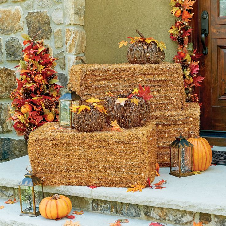 Lighted Faux Hay Bale Halloween Decorations