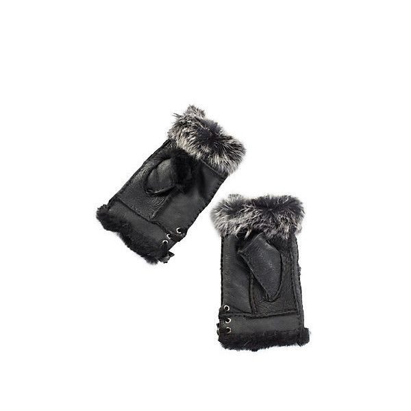 Women's Fingerless Sheepskin Gloves with Rabbit Fur Trim (£28) ❤ liked on Polyvore featuring accessories, gloves, lace up gloves, fingerless gloves and sheepskin gloves