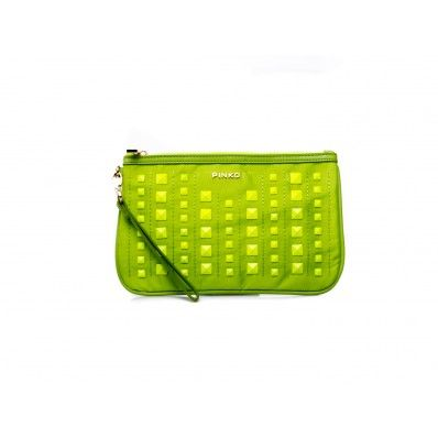 PINKO - Pochette Poe studs detail in nylon and eco-leather lime  - Elsa-boutique.it