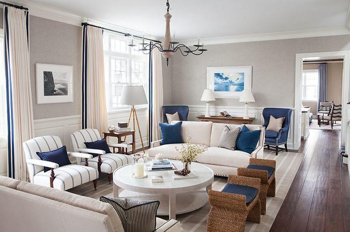 Coastal Living Room With White Decor