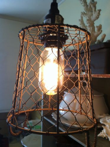 wire basket lamp