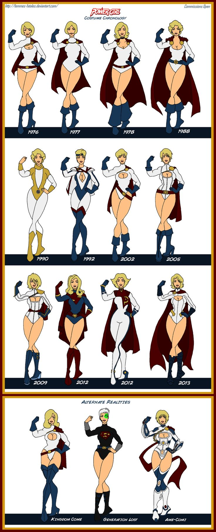 Power Girl Costume Chronology by Femmes-Fatales.deviantart.com on @DeviantArt