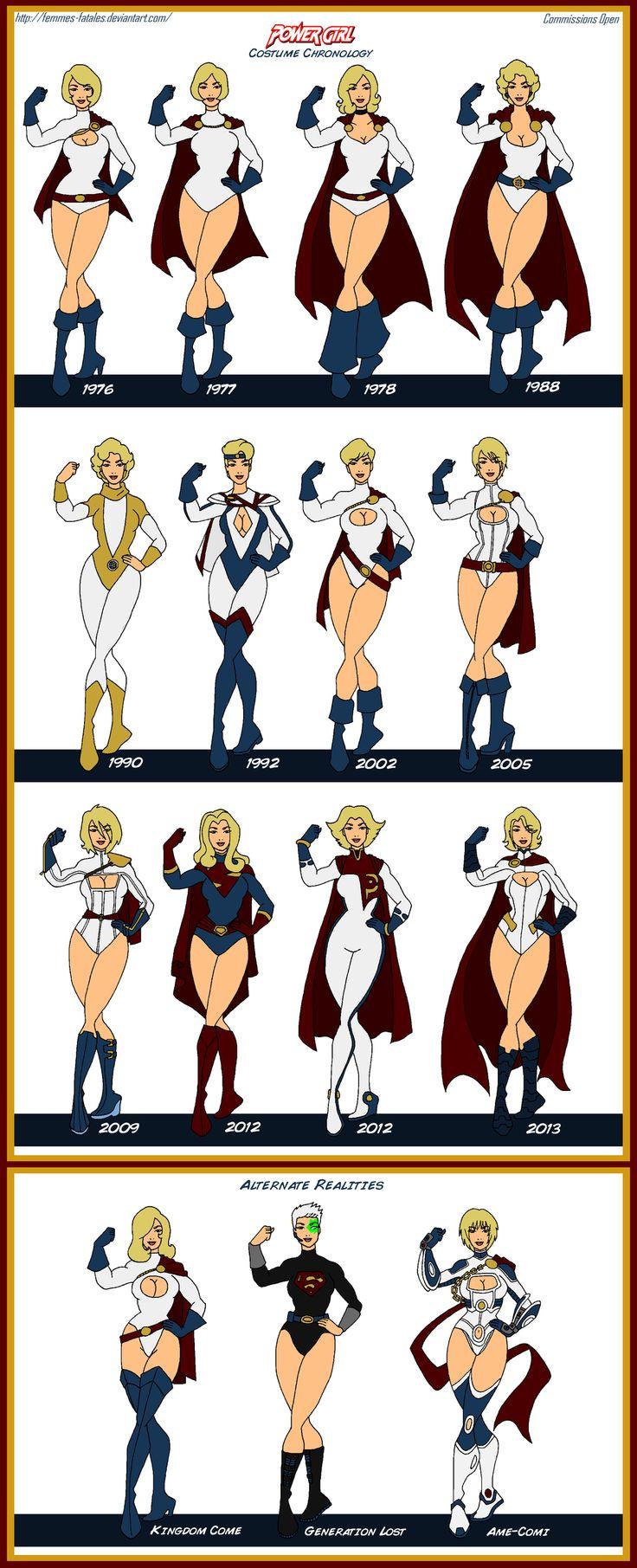 Power Girl Costume Chronology by Femmes-Fatales.deviantart.com on @DeviantArt