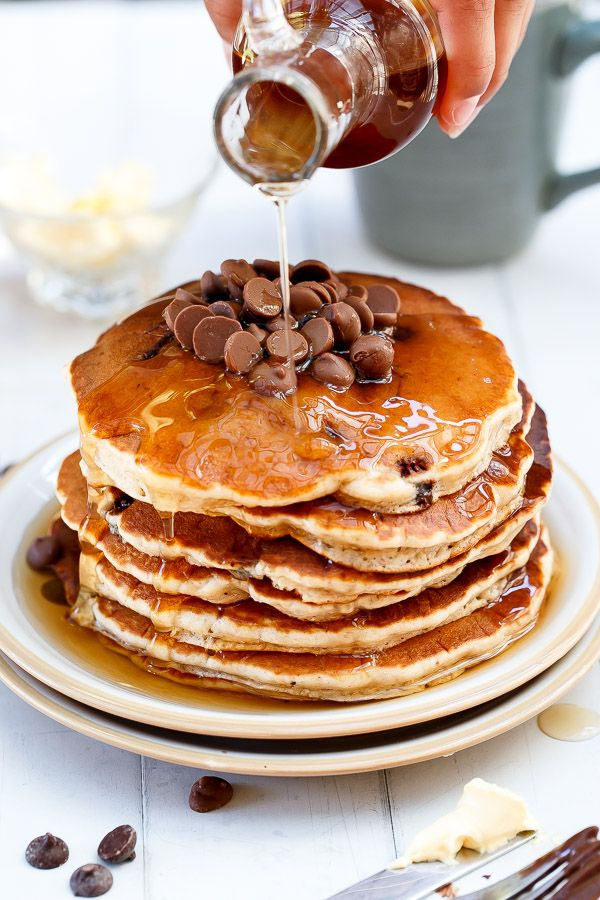 Cafe Delites   Whole Wheat Choc Chip Banana Bread Pancakes   http://cafedelites.com