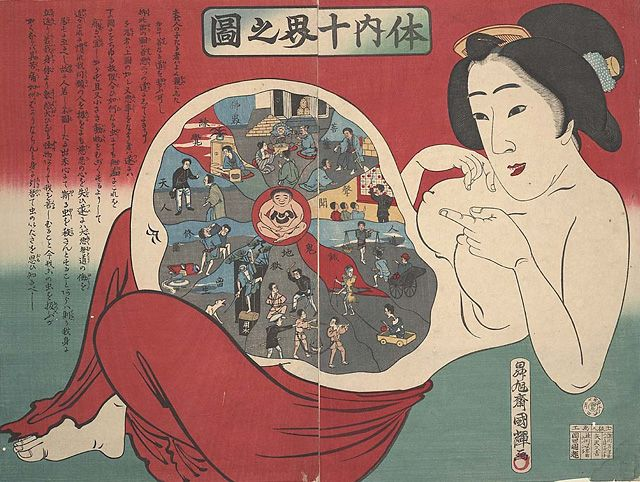 Ten realms within the body -- Utagawa Kuniteru III, c. 1885. UCSF maintains a collection of 400 health-themed woodblock prints from 19th-century Japan. The collection  offers a unique look at Japanese medical knowledge in the late Edo and early Meiji periods.  http://pinktentacle.com/2010/09/medical-woodblock-prints-from-19th-century-japan/