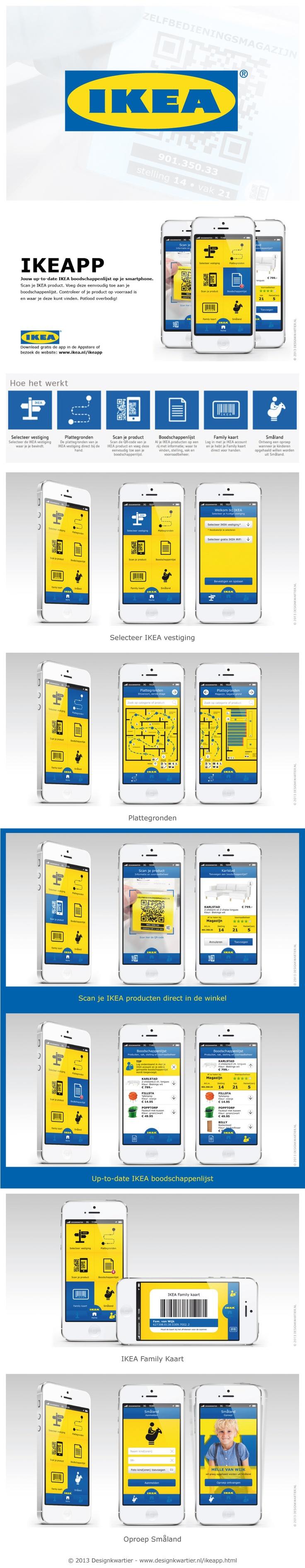 IKEAPP - Redesign IKEA Shopping List App - User interface / experience - ©2013 Designkwartier - #UI #UX /// IKEA Boodschappenlijst App. WiFi-functie, scan je IKEA product in de winkel en zet deze direct op je boodschappenlijst, Family kaart en oproep Småland. Zie voor meer informatie: http://www.designkwartier.nl/ikeapp.html