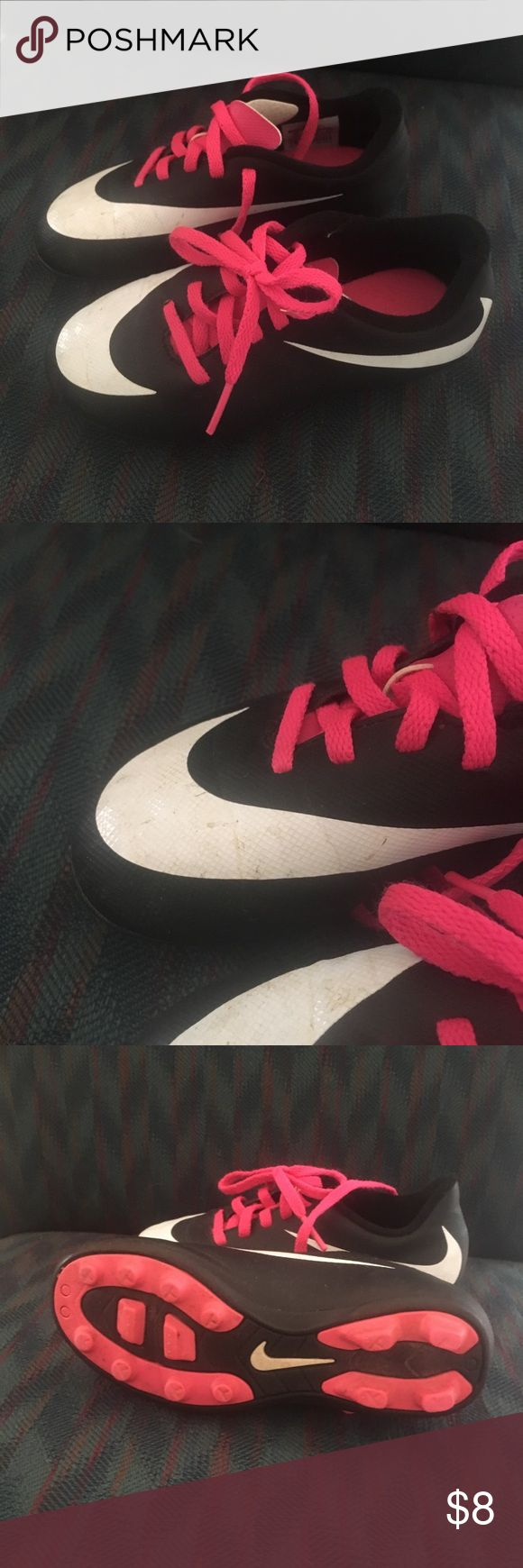 Nike girl soccer shoes. VGUC Nike Soccer Shoes Kids size 11. White does show usage. Please see pictures. Nike Shoes