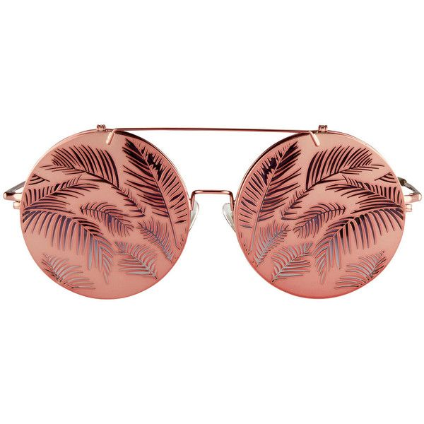 Matthew Williamson Flip-Up Sunglasses ($330) ❤ liked on Polyvore featuring accessories, eyewear, sunglasses, peach, nose pads glasses, metallic glasses, palm glasses, metallic sunglasses and flip up sunglasses