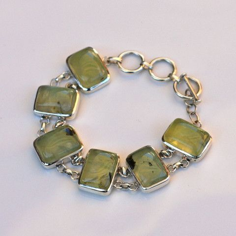 Prehnite and Sterling Silver Rectangle Bracelet - SilverBellas $220.00