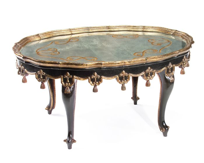 Cocktail Table With Mirror Top. A Century French Black Crackle And Gilded  Cocktail Table With Eglomise Top And Cabriole Legs With Carved Details.