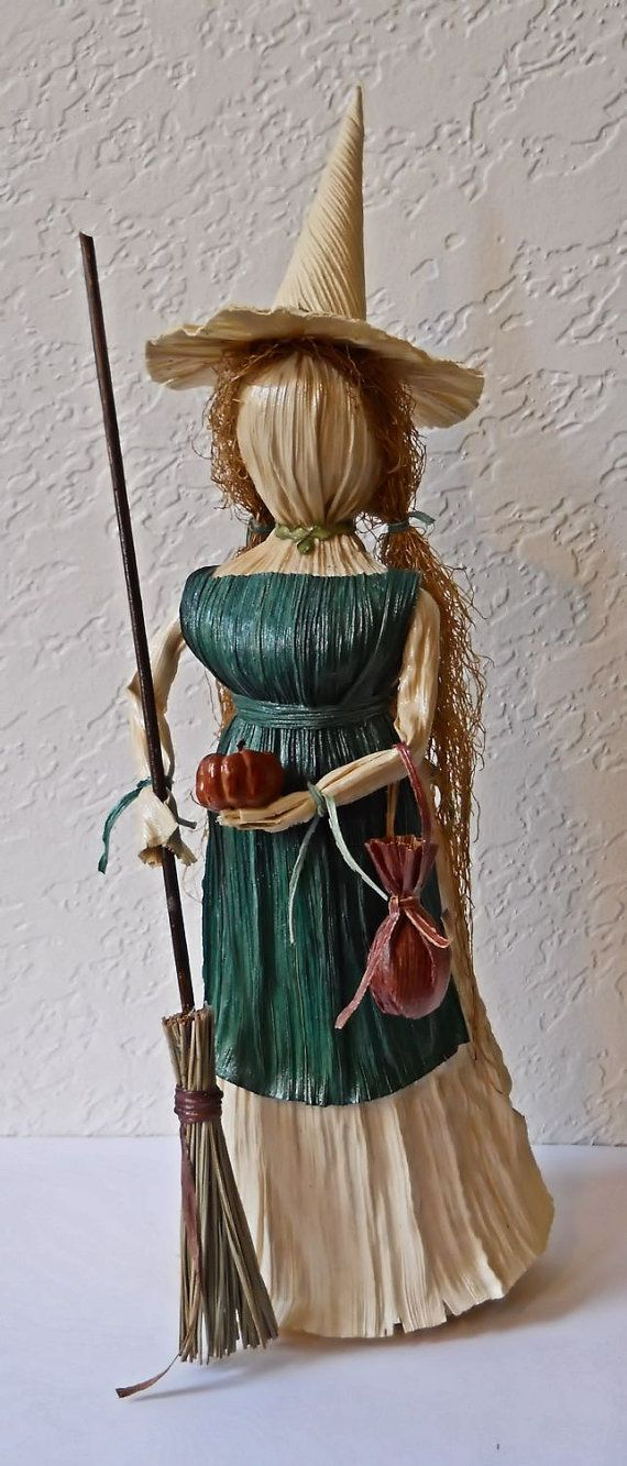Kitchen Witch Corn Husk Art Doll with Pumpkin by LacyLeafStudio
