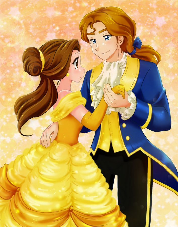 Belle and prince anime style - Commission by *chikorita85 ...