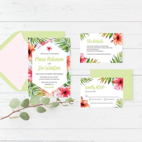 Tropical, Caribbean, Printable, Wedding Invitation Suite, Hibiscus, Palm Leaves, Hawaiian, Hawaii, Destination, Modern, Fun, Playful, Wedding Invitation, RSVP Card, Details Card by CrissyDesignCo