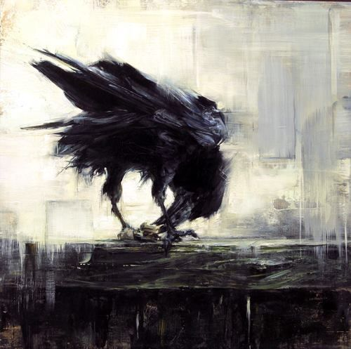 "Art by Lindsey Kustusch ""Backyard Raven"" (oil on panel)"
