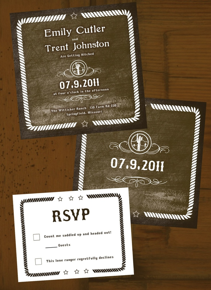161 best cowboy wedding invitations images on pinterest | cowboy, Wedding invitations
