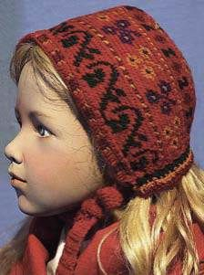 Children's crocheted caps and bonnets with motifs found on Korsnäs sweaters. Collection of the Ostrobothnian Museum, Vasa, Finland.